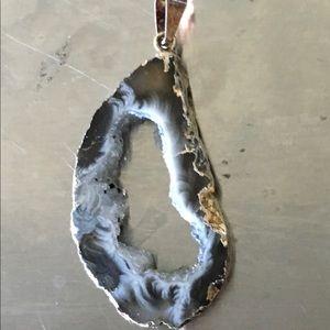 Black Agate Slice Pendants
